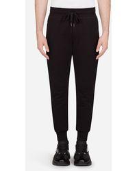 Dolce & Gabbana Pantalones De Chándal De Jersey Con El Logo En La Placa - Negro