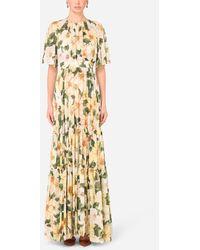 Dolce & Gabbana Short-Sleeved Long Chiffon Dress - Metálico