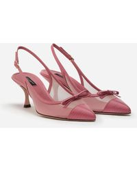 Dolce & Gabbana Sling Back Shoes In Iguana Print Leather And Mesh - Pink