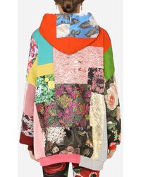 Dolce & Gabbana Patchwork Jersey Hoodie With Dg Embroidery - Multicolour