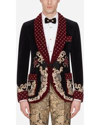 Dolce & Gabbana Casinò Tuxedo Jacket With Neapolitan Brocade Print - Gray
