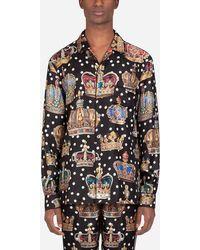 Dolce & Gabbana Camicia Pigiama Stampa Corone - Multicolore