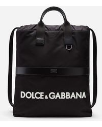 Dolce & Gabbana Street Backpack In Nylon Mit Logo - Schwarz