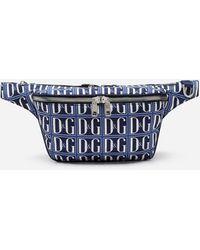 Dolce & Gabbana Nylon Belt Bag With Dg Logo Print - Blue
