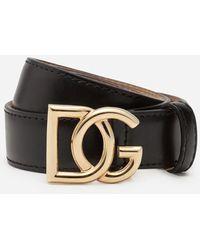 Dolce & Gabbana Cintura In Cuoio Con Logo Dg Millennials - Nero