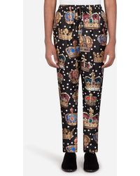 Dolce & Gabbana Pyjama Bottoms In Crown And Polka-dot Print - Multicolour