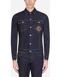 Dolce & Gabbana Stretch-Jeansjacke Mit Patch - Blau