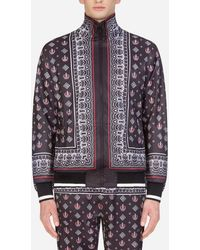Dolce & Gabbana Zip-up Jumper In Bandana Print - Black