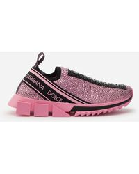 Dolce & Gabbana Sorrento Sneakers With Fusible Crystals - Pink