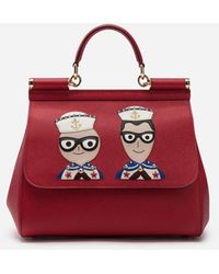 Dolce & Gabbana Medium Sicily Handbag In Dauphine Calfskin With Designers' Patches - Red