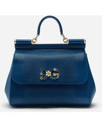 Dolce & Gabbana Medium Iguana Print Calfskin Sicily Bag With Crystal Dg Logo Patch - Blau