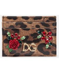 Dolce & Gabbana Credit Card Holder In Printed Dauphine Calfskin With Logo And Applications - Multicolor