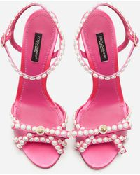 Dolce & Gabbana Satin Sandals With Pearl Application - Pink