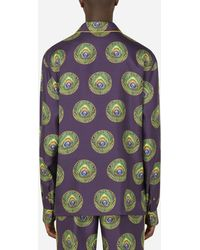 Dolce & Gabbana Polka-Dot And Peacock-Print Silk Pajama Shirt - Multicolore