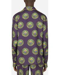 Dolce & Gabbana Polka-dot And Peacock-print Silk Pajama Shirt - Multicolor