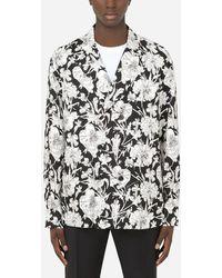 Dolce & Gabbana Floral-print Silk Pyjama Shirt - Black
