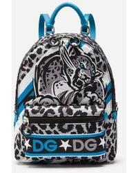 Dolce & Gabbana Nylon Vulcano Backpack With Jungle Print Over A Light Blue Base
