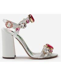 Dolce & Gabbana Sandale Aus Lackleder Mit Steinstickerei - Weiß
