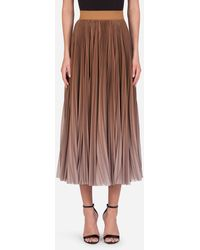 Dolce & Gabbana Longuette Plisse Skirt In Chiffon With Degradé Print - Natural
