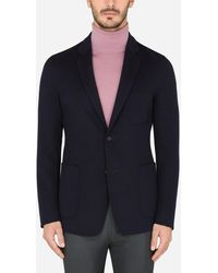 Dolce & Gabbana Deconstructed Double-Breasted Wool Jacket - Blau