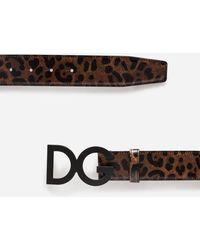 Dolce & Gabbana - Leopard Print Calfskin Belt With Buckle Featuring Logo - Lyst