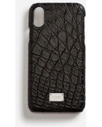 Dolce & Gabbana Iphone X Cover With Details In Crocodile - Noir