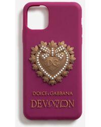 Dolce & Gabbana Coque Pour Iphone 11 Pro Max En Caoutchouc Devotion - Violet