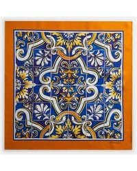 Dolce & Gabbana Foulard De Seda Con Estampado De Mayólica Sobre Fondo Azul Oscuro