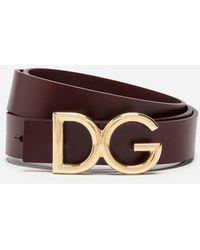 Dolce & Gabbana Dauphine Leather Belt - Marrón
