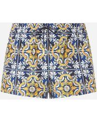 Dolce & Gabbana Bañador Bóxer Corto Con Estampado Mayólica Sobre Fondo Azul