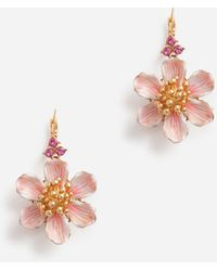Dolce & Gabbana Leverback Earrings With Hand-Painted Flower - Multicolore