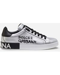 Dolce & Gabbana Metallic Calfskin Nappa Portofino Sneakers - Metálico