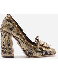 Dolce & Gabbana Pumps Aus Brokat Mit Blattmotiv Und Schmuckstickerei - Schwarz