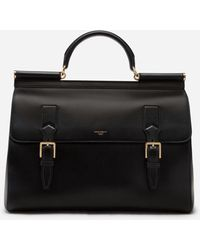 Dolce & Gabbana Calfskin Monreale Travel Bag With Heat-stamped Logo - Black