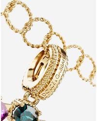 Dolce & Gabbana Rainbow Alphabet G 18 Kt Yellow Gold Charm With Multicolour Fine Gems - Metallic