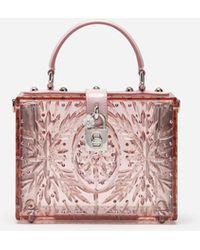 Dolce & Gabbana Dolce Box Bag In Cinderella Sint Glass - Pink