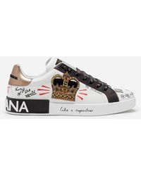 Dolce & Gabbana - Portofino Sneakers In Printed Nappa Calfskin With Patch - Lyst