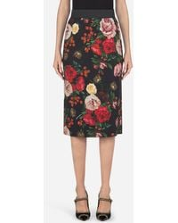 Dolce & Gabbana Gonna Longuette In Cady Stampa Rose Barocche - Multicolore