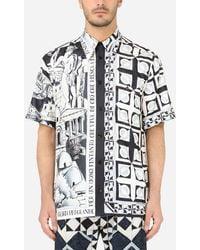 Dolce & Gabbana Printed Silk Hawaiian Shirt - Blue