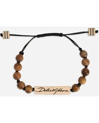 Dolce & Gabbana Cord Bracelet With Wooden Spheres - Multicolor
