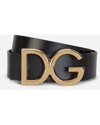Dolce & Gabbana Leather Belt With Dg Logo - Mettallic