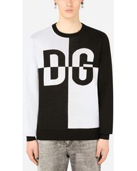 Dolce & Gabbana Two-tone Round-neck Jumper With Dg Intarsia - Black