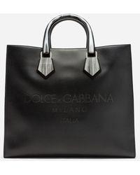 Dolce & Gabbana Design Logo Shopping Back In Calfskin With Lasered Logo - Black