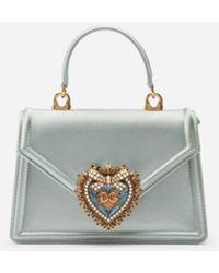 Dolce & Gabbana Sac Devotion Petit Format En Satin - Vert
