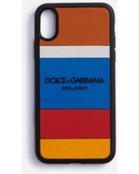 Dolce & Gabbana Cover Iphone X Aus Gummi Mehrfarbiger Print Mit Logo - Blau