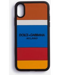Dolce & Gabbana Rubber Multicolored Print Iphone X Case With Logo - Blue