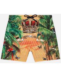 Dolce & Gabbana Bañador De Tejido Técnico Con Estampado Tropical King - Verde