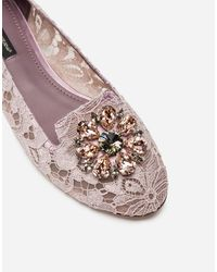 Dolce & Gabbana Slipper In Taormina Lace With Crystals - Multicolore