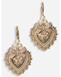 Dolce & Gabbana Devotion Ohrringe Aus Gelbgold Mit Diamanten Und Perlen - Mehrfarbig