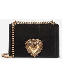 Dolce & Gabbana Medium Devotion Crossbody Bag In Quilted Velvet - Blanco
